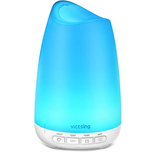 VicTsing 3rd Version Essential Oil Diffuser with Noise Reduction Design, 150ml Ultrasonic Diffusers Cool Mist Humidifier with Sleep Mode, Waterless Auto-Off & 8-Color LED Light for Bedroom Baby