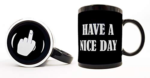 Funny Coffee Mugs Have A Nice Day Coffee Mug Middle Finger Funny Coffee Cup 11oz 100% Ceramic Mug, Black