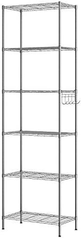 Himimi 6-Tier Wire Shelving Unit, Free Standing Shelf, Metal Storage Shelves, Heavy Duty Organizer Rack for Garage, Kitchen, Living Room, Bathroom, 21.26L x 11.42W x 62.99H, Silver