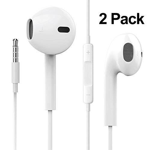 2 Pack Earphones/Earbuds/Headphones Stereo Mic&Remote Control Compatible with iPhone 6s/6plus/6/5s/se/5c/IPad/IPod Galaxy More Android Smartphones(White)