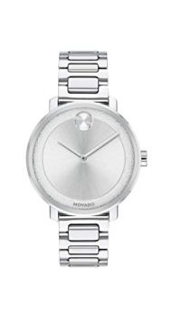 Movado Women's BOLD Sugar Dial Stainless Steel Watch with a Flat Dot, Silver (3600501)