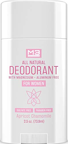 M3 Naturals All Natural Deodorant for Women with Magnesium, Apricot and Chamomile - Long-Lasting, Non-Toxic, Free of Aluminum, Baking Soda, Parabens, Sulfates and Gluten – Vegan, Organic 2.5 oz 1