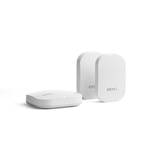 eero Home WiFi System (1 eero Pro + 2 eero Beacons) – Advanced Tri-Band Mesh WiFi System to Replace Traditional Routers and WiFi Ranger Extenders – Coverage: 2 to 4 Bedroom Home