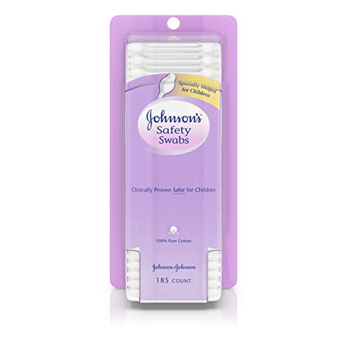 Johnson's Safety Ear Swabs for Babies & Children made with Non-Chlorine Bleached Cotton, 185 ct (Pack of 2)