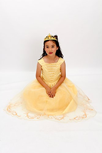 Yellow Belle The Beauty Princess Costume Light up Gown Free