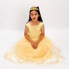 Yellow Belle The Beauty Princess Costume Light up Gown Free Tiara T XS S M