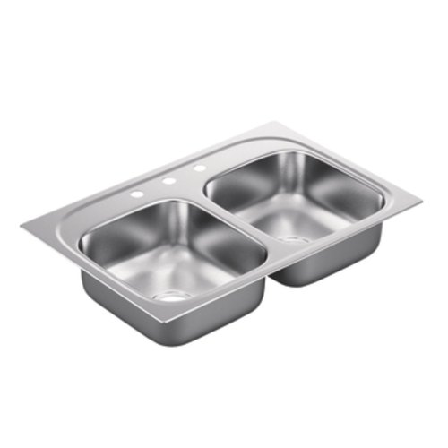 Moen G222173 2200 Series 22 Gauge Double Bowl Drop In Sink, Stainless Steel