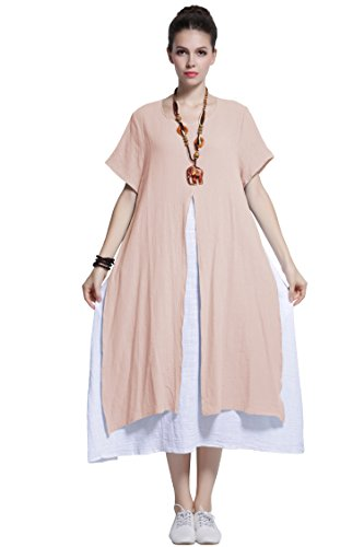 a68c512939 Anysize Fake-Two-Piece Soft Linen Cotton Dress Spring Summer Plus Size  Clothing Y110 - My Maxi Dress
