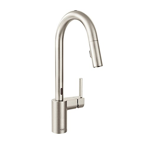 Moen 7565ESRS Align Motionsense Two-Sensor Touchless One-Handle High Arc Modern Pulldown Kitchen Faucet with Reflex, Spot Resist Stainless