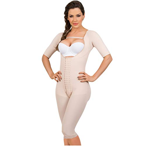4588df5b65 Fajas Colombianas MariaE Post-surgery Post partum with Sleeves Beige ...