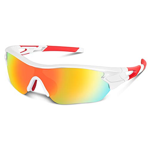 Polarized Sports Sunglasses for Men Women Cycling Running Driving Fishing Golf Baseball Motorcycle Glasses (White Red)