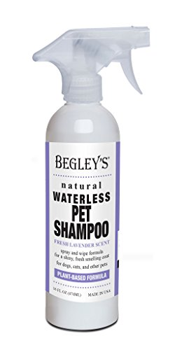 Begley's Natural No Rinse Waterless Pet Shampoo, Bathless Cleaning, Deodorizing, and Odor Removal for a Shiny, Fresh Smelling Coat - Effective for Dogs, Puppies, and Cats - Fresh Lavender Scent