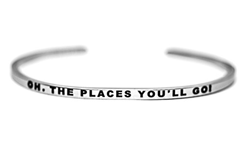 Dolceoro Inspirational Cuff Band, OH, THE PLACES YOU'LL GO! High Polished 316L Surgical Stainless Steel