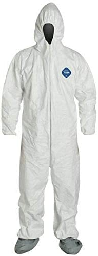 DuPont TY122S Disposable Elastic Wrist, Bootie & Hood White Tyvek Coverall Go well with 1414 (Medium)
