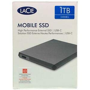 LaCie Mobile SSD 1TB High Performance External SSD USB-C with 1 Month of Adobe Creative Cloud