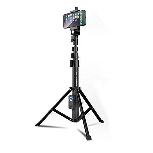 Selfie Stick & Tripod Fugetek, Integrated, Portable All-In-One Professional, Heavy Duty Aluminum, Lightweight, Bluetooth Remote For Apple & Android Devices, Non Skid Tripod Feet, Extends To 51', Black