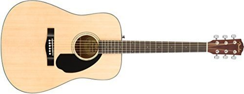 Fender CD-60S Dreadnought Acoustic Guitar Pack, Natural with Strap, Strings, and Picks