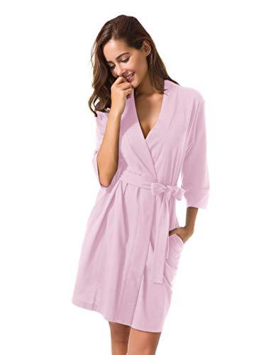 SIORO Kimono Robe Plus Size Soft Lightweight Robes Cotton Nightshirts V-Neck Sexy Nightwear Dress Knit Bathrobe Loungewear Short for Women Pink XL