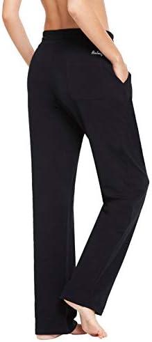 BALEAF Women's Cotton Leisure Drawstring Yoga Sweatpants Straight Bottom Leg Lounge Walking Wide Pajamas Pocketed 3