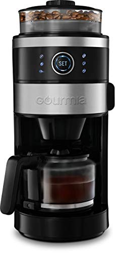 Gourmia GCM4850 Grind and Brew Coffee Maker with Built-In Grinder | Adjustable Grind Size | Cup Selection Dial | Brew Strength Selection | Keep Warm Function | 6-Cup