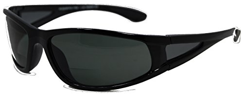 In Style Eyes Del Mar Polarized Wrap Nearly Invisible Line Bifocal Sunglass Readers/Glossy Black/2.50 Strength