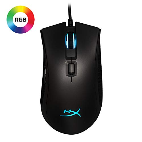 HyperX Pulsefire FPS Pro - RGB Gaming Mouse, Software Controlled RGB Light Effects & Macro Customization, Pixart 3389 Sensor up to 16,000DPI, 6 Programmable Buttons, Mouse Weight 95g (HX-MC003B)