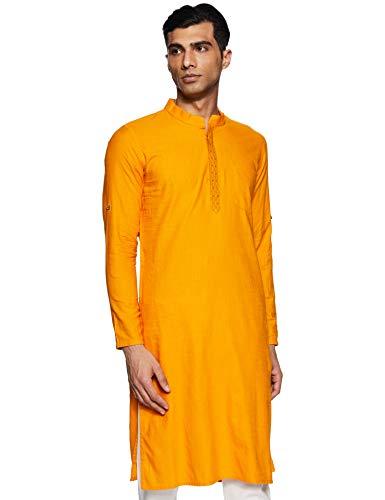 Indo Ink Men's Cotton Indo Western Kurta (ICMLF14SC24L31-3540H_Mustard_L)