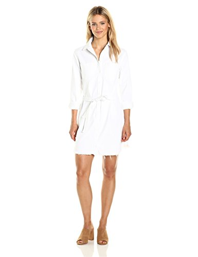 31aluR9M 2L Dress Frayed hems create an undone look on a long-sleeve shirtdress made from cotton chambray in crisp, clean white. Two patch pockets adorn the chest, and a self-fabric belt draws in the waist for a flattering silhouette.