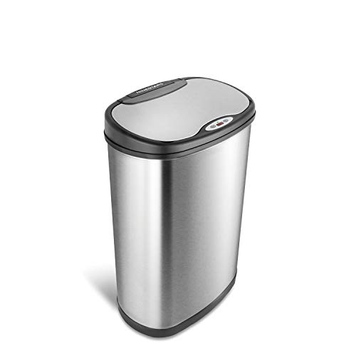 Ninestars DZT-50-13 Automatic Touchless Motion Sensor Oval Trash Can with Black Top, 13 gallon/50 L, Stainless Steel