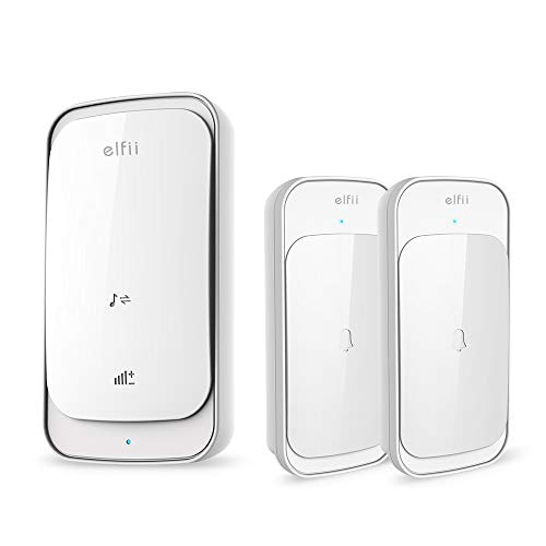 Elfii Wireless Doorbell Chime Kit,Touch Activated 1000FT/300M Range Operating 58 Melodies Chimes 4 Volume Levels Waterproof,2 Push Button and 1 Plugin Receiver,Battery Operated(White)