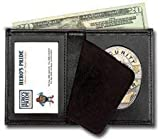 Bi-Fold Badge Holder Wallet, Shield Style with ID window 100% Genuine Leather