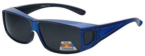 Polarized Wear Over Sunglasses Square Fit Over Glare Blocking Over Prescription Glasses (Blue | Smoke Lens, 65)