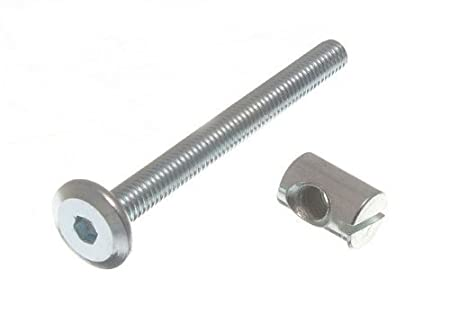 Furniture Cot Bed Bolt Allen Head With Barrel Nut 6mm M6 X 60mm Zp Pack