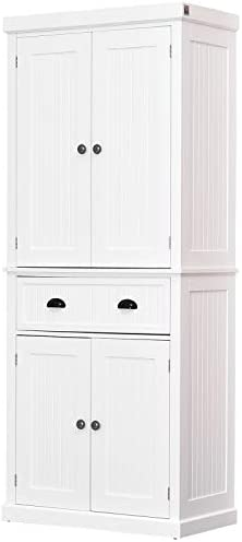 HOMCOM 72″ Traditional Colonial Kitchen Pantry Cabinet with 2 Large Storage Areas, Drawer, and Adjustable Shelves, White