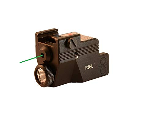 HiLight P3GL 500 lm Strobe Pistol Flashlight & Green Laser Sight Combo (USB Rechargeable: Built-in Battery + USB Charger) for Subcompact Pistols