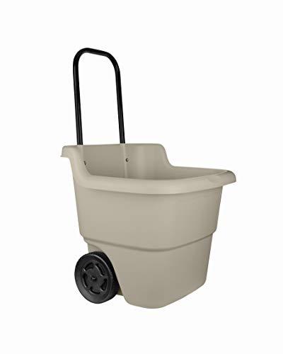 Suncast LC1250D TRV131905 2-Wheel Resin Rolling Lawn Cart with Handle-15.5 Gallon Gar, Brown