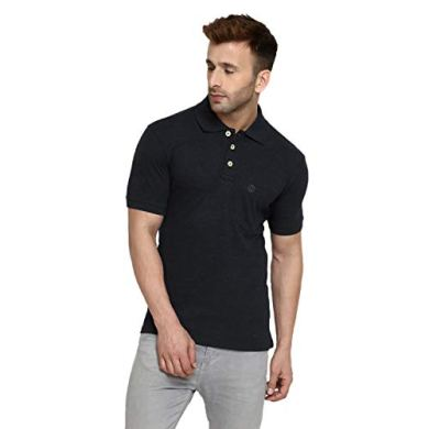 CHKOKKO Men's Half Sleeves Plain Polo Collar Cotton T-Shirts with Pocket 15