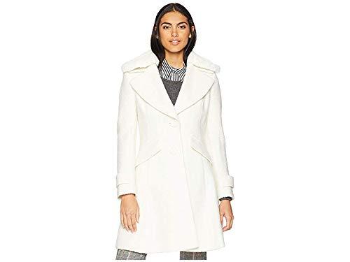 Sam Edelman Women's Fit & Flare Coat Faux Winter White 6
