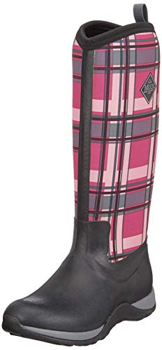 Muck Arctic Adventure Tall Rubber Women's Winter Boots, 7 US/7 M US, Black/Pink Plaid