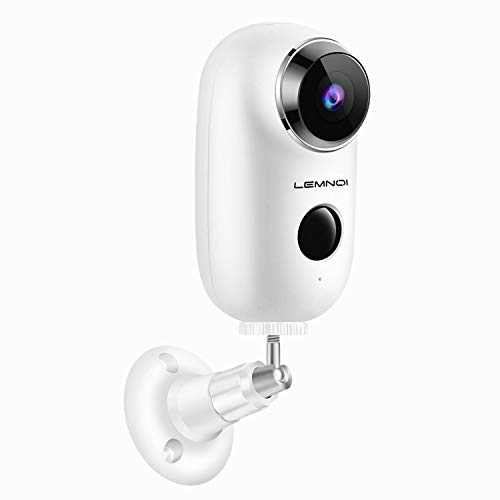 Lemnoi Wireless Battery Security Camera, WiFi Wire-Free Security Camera HD for Outdoor/Indoor, Home Surveillance Camera with Waterproof丨2-Way Audio丨Night Vision丨PIR Motion Sensor丨Alarm Alert