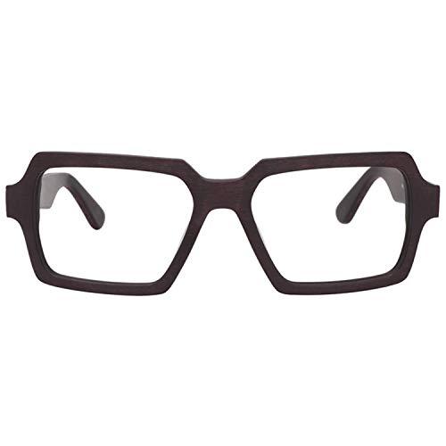 Zeelool Vintage Wood Grain Acetate Rectangular Eyeglasses for Men with Non-Prescription Clear Lens Arthur FA0178-01 Brown