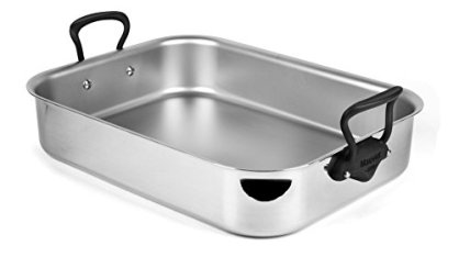 Mauviel-MCook-Pro-5-ply-Stainless-Steel-16-x-12-inch-Roasting-Pan-with-Stainless-Steel-Iron-Finish-Handles