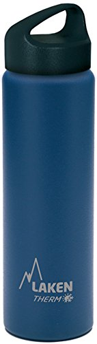 Laken Thermo Classic Vacuum Insulated Stainless Steel Wide Mouth Water Bottle with Screw Cap, 25 Oz, Blue