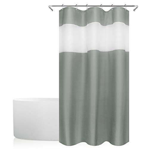 Eforgift Pastoral Top Tulle Design Shower Curtain Water Repellent Fabric, Solid Gray Stall Curtain Machine Washable, Ideal for Unisex-Adults Home Decoration, 36-inch by 72-inch