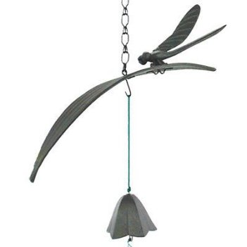Japanese Furin Wind Chime Iron Iwachu Black Dragonfly on Leaf with Lily Bell, Made in Japan