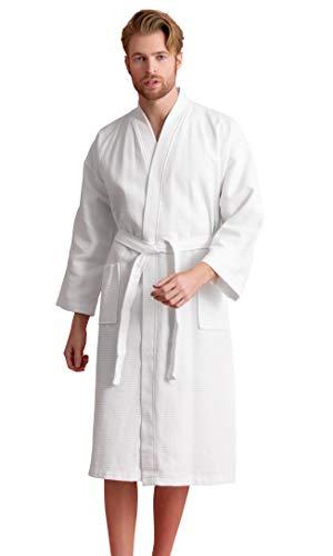 Men's Robe, 100% Turkish Cotton Long Waffle Spa Bathrobe, Diamond Pattern (Large, White)