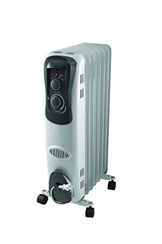 Pelonis PH-17LA Basic Electric Oil Filled Radiator, 1500W Portable Full Room Radiant Space Heater with Adjustable Thermostat, White