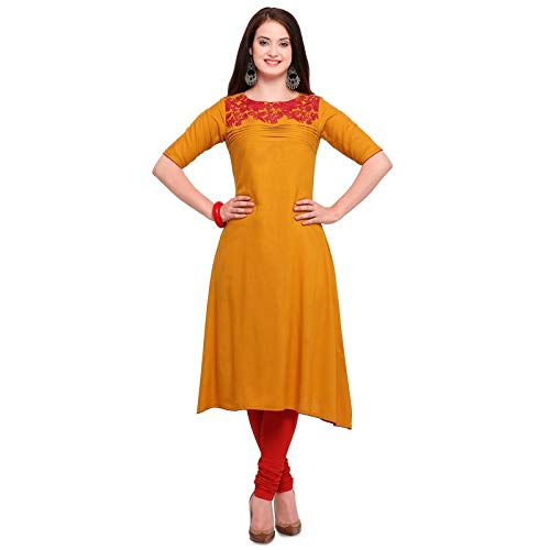 4999fd7ee Trendzvila Women s New Rayon Mustard Full Stiched A-Line Kurti. Material   Rayon with Half Sleeve ...