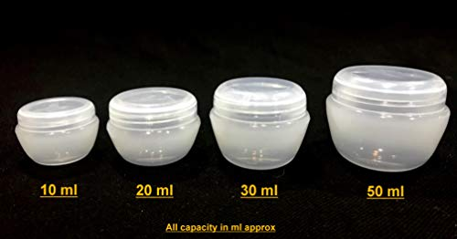 31f3uNmFpJL SPC 12pcs - 10 ml Empty Plastic Cosmetic Jar/Container for Eyeshadow, Makeup, Face Cream, Lotion, Lip Balm, Body Butter, Scrub and Other DIY Beauty Products (Clear)