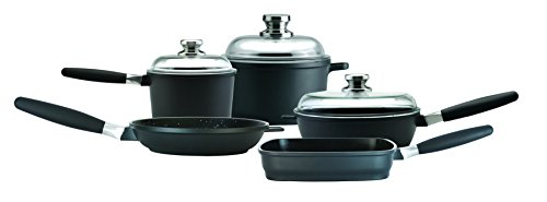 Eurocast Professional Cookware Family Set With 3 Glass Lids and Removable Handles. Includes 1.2 Qt Sauce Pan (6.25'), 3.2Qt Stock Pot (8'), 9.5' Fry Pan, 9.5' Grill Pan, and 9.5' Saute Pan